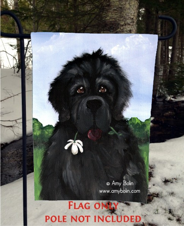 GARDEN FLAG · I SAW THIS FLOWER & THOUGHT OF YOU · BLACK NEWFOUNDLAND · AMY BOLIN
