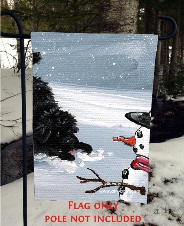 GARDEN FLAG · MY SNOWY FRIEND · BLACK NEWFOUNDLAND · AMY BOLIN