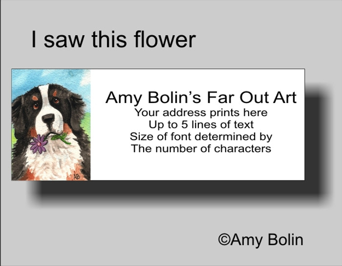 """""""I Saw This Flower"""" Bernese Mountain Dog Address Labels"""