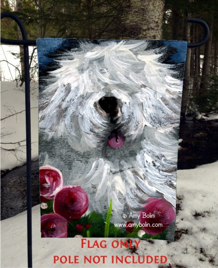 GARDEN FLAG · MOM'S FAVORITE FLOWER · OLD ENGLISH SHEEPDOG · AMY BOLIN