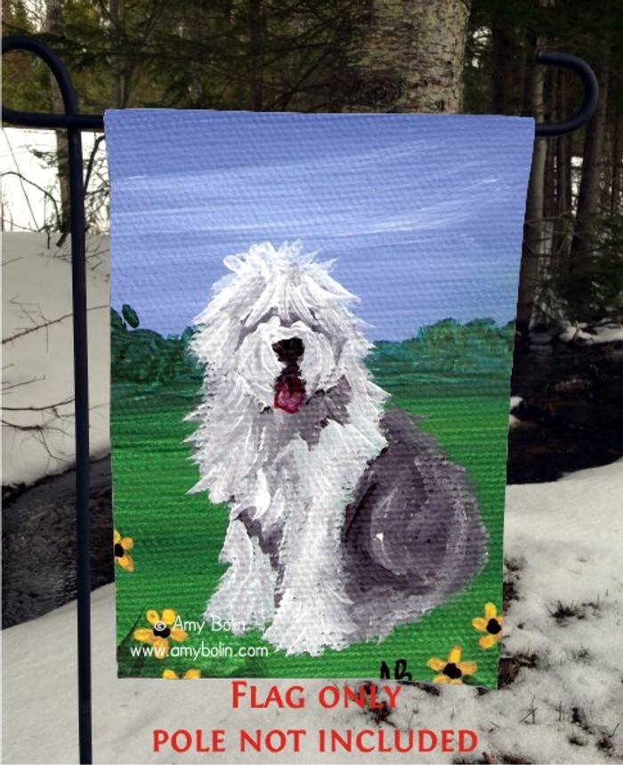 GARDEN FLAG · SUMMER · OLD ENGLISH SHEEPDOG · AMY BOLIN