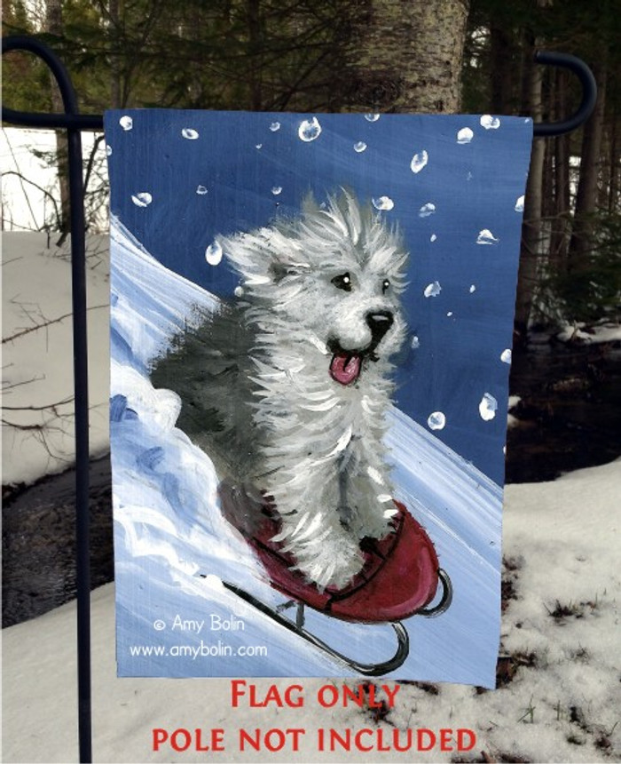 GARDEN FLAG · THE SLED RIDE · OLD ENGLISH SHEEPDOG · AMY BOLIN