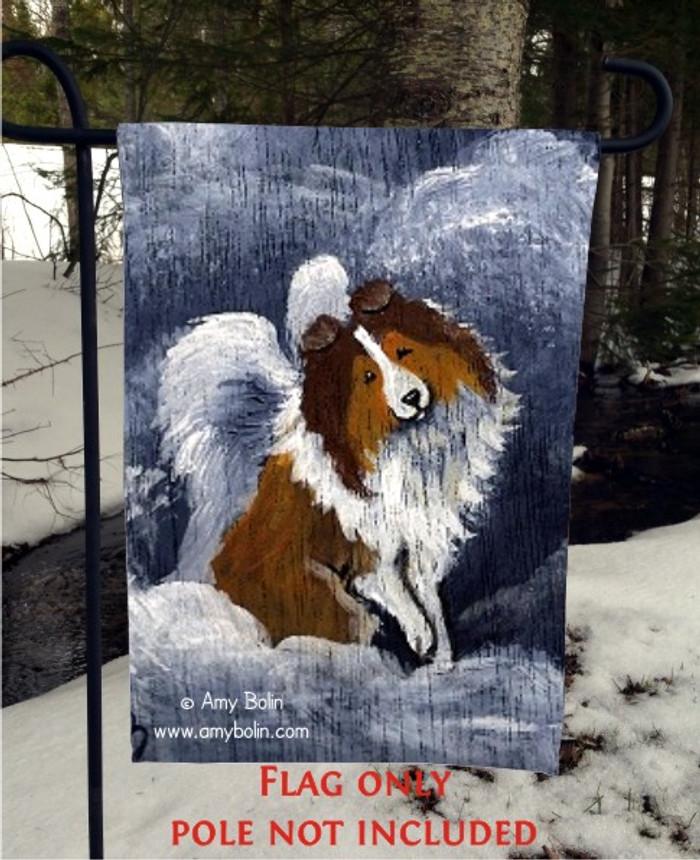 GARDEN FLAG · DOG BARKS & ANGEL WINGS · SABLE SHELTIE · AMY BOLIN