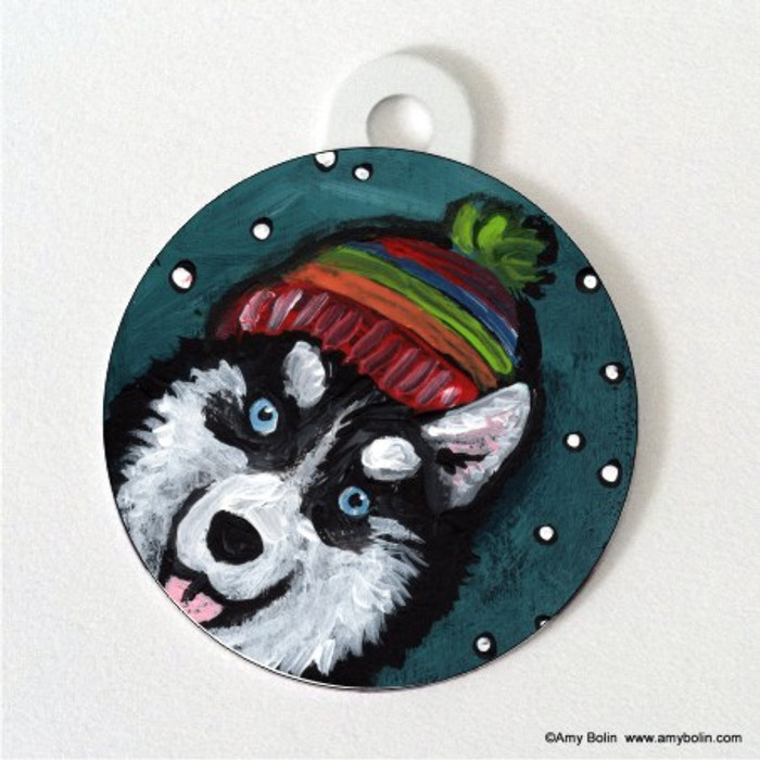 DOUBLE SIDED PET ID TAG · SNOWY WEATHER · SIBERIAN HUSKY · AMY BOLIN