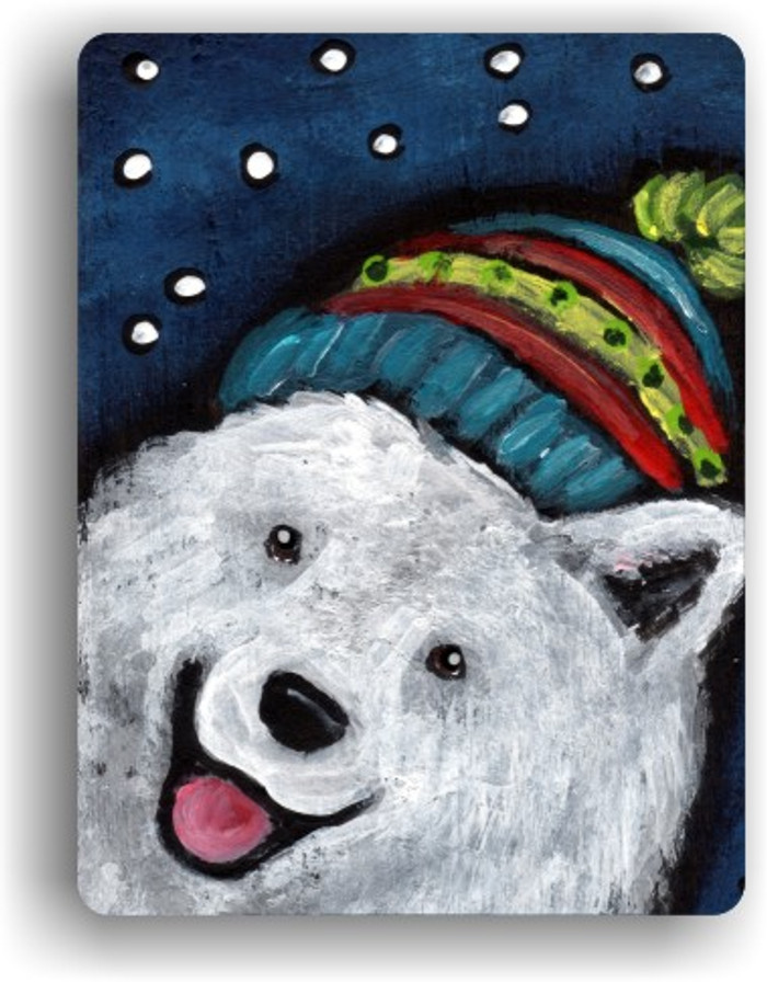 MAGNET · SNOWY WEATHER · SAMOYED · AMY BOLIN