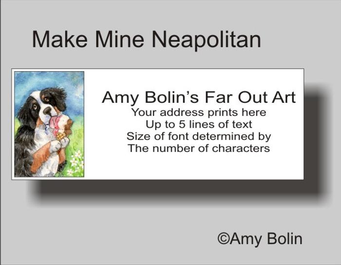 """Make Mine Neapolitan"" Bernese Mountain Dog Address Labels"