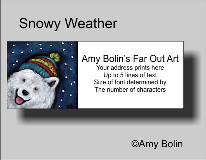 ADDRESS LABELS · SNOWY WEATHER · SAMOYED · AMY BOLIN
