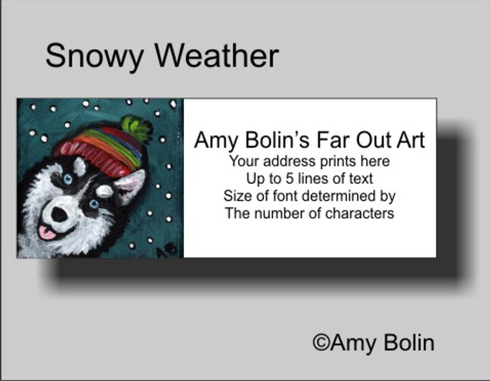 """Snowy Weather (Blue Eyes)"" Siberian Husky Address Labels"