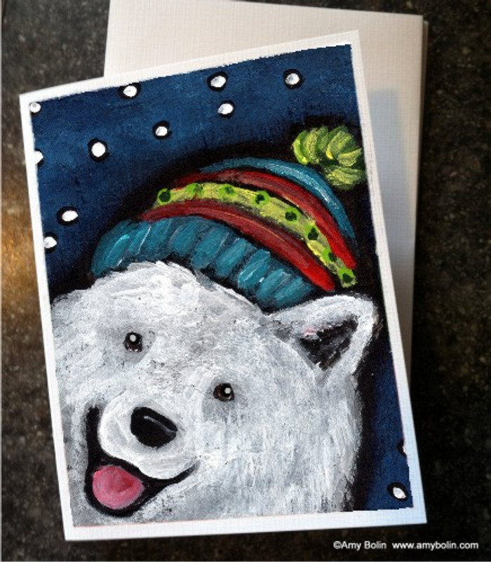 NOTE CARDS · SNOWY WEATHER · SAMOYED · AMY BOLIN