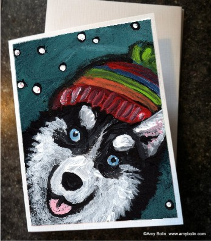 """Snowy Weather (Blue Eyes)"" Siberian Husky Note Cards"