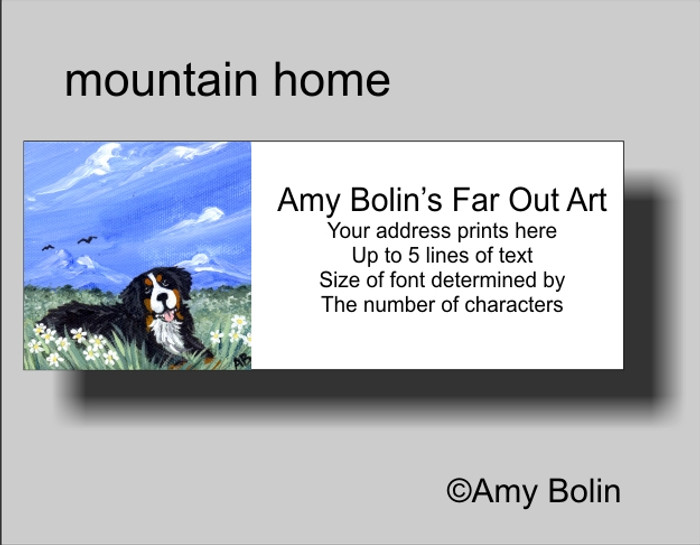"""""""Mountain Home"""" Bernese Mountain Dog Address Labels"""