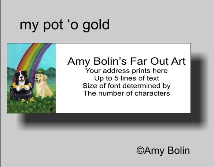 """""""My Pot O' Gold"""" Bernese Mountain Dog, Golden Retriever Address Labels"""