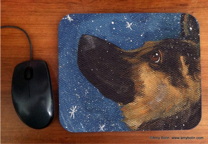 MOUSE PAD · WISH UPON A SNOWFLAKE · GERMAN SHEPHERD · AMY BOLIN