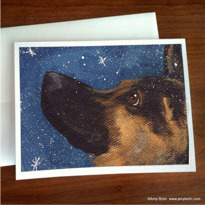 """Wish Upon A Snowflake"" German Shepherd Note Cards"