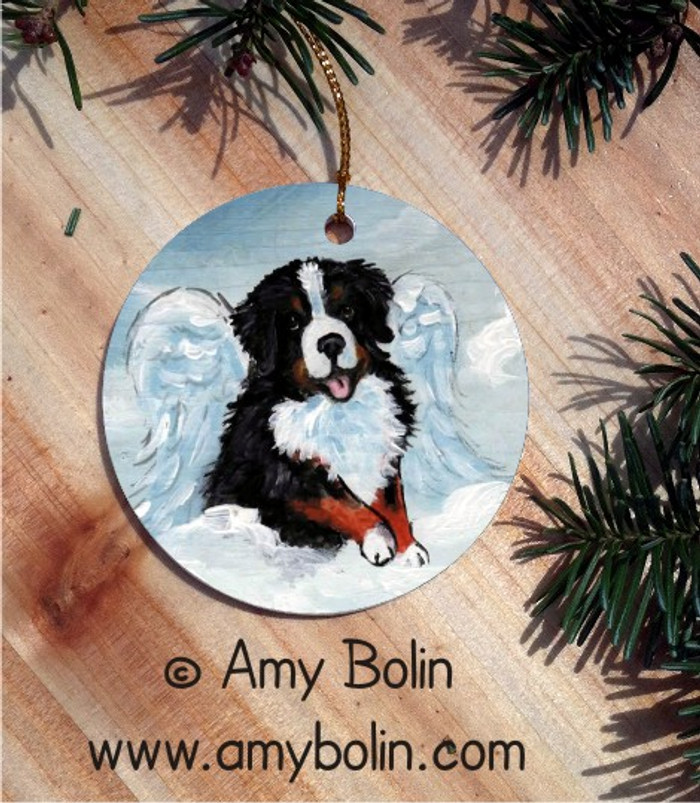 CERAMIC ORNAMENT · MY SWEET ANGEL · BERNESE MOUNTAIN DOG · AMY BOLIN