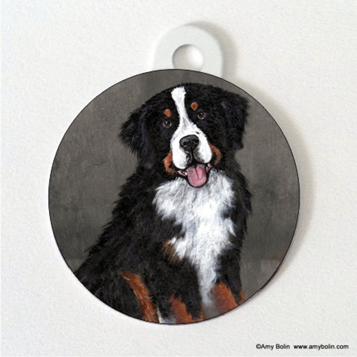 DOUBLE SIDED PET ID TAG · MERLIN · BERNESE MOUNTAIN DOG · AMY BOLIN