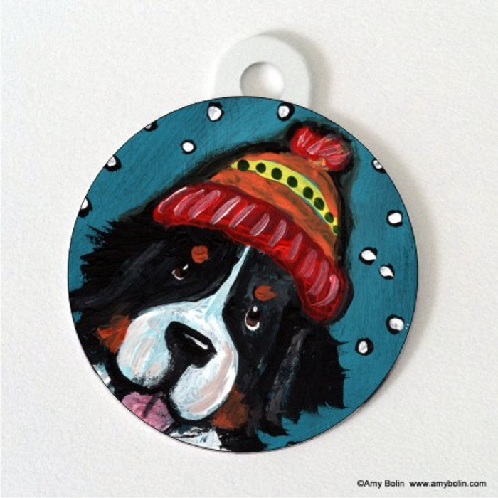 DOUBLE SIDED PET ID TAG · SNOWY WEATHER · BERNESE MOUNTAIN DOG · AMY BOLIN