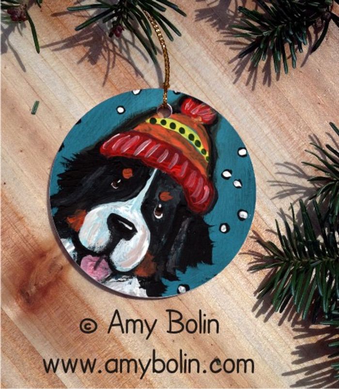 CERAMIC ORNAMENT · SNOWY WEATHER · BERNESE MOUNTAIN DOG · AMY BOLIN