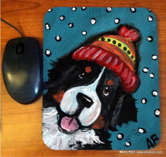 MOUSE PAD · SNOWY WEATHER · BERNESE MOUNTAIN DOG · AMY BOLIN