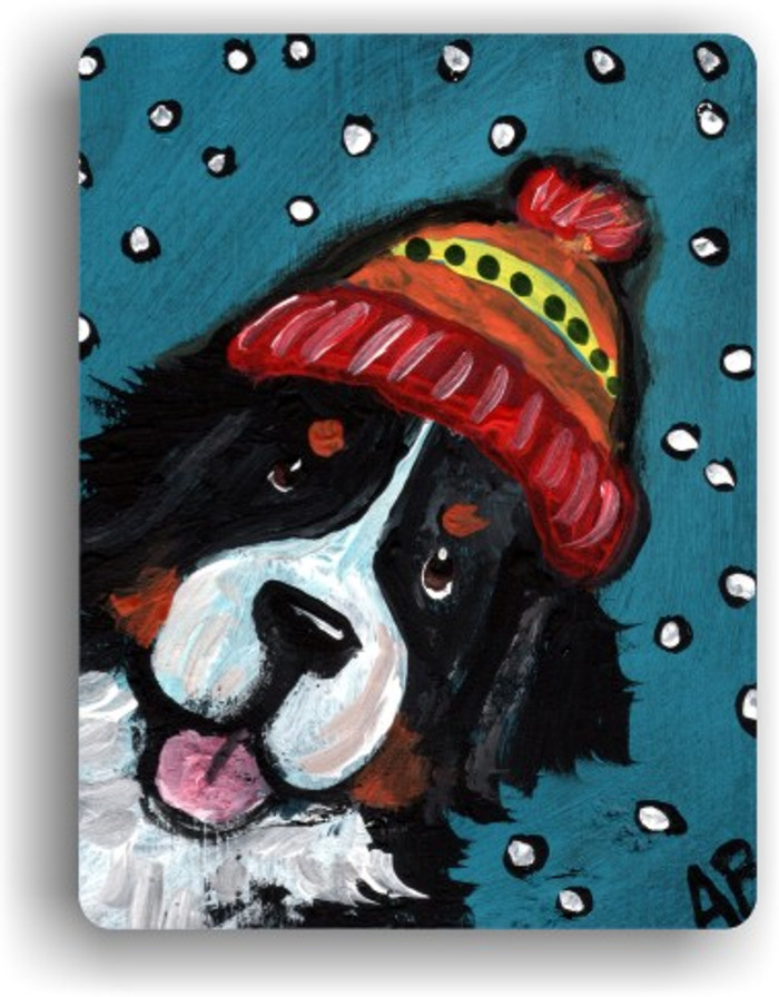 MAGNET · SNOWY WEATHER · BERNESE MOUNTAIN DOG · AMY BOLIN