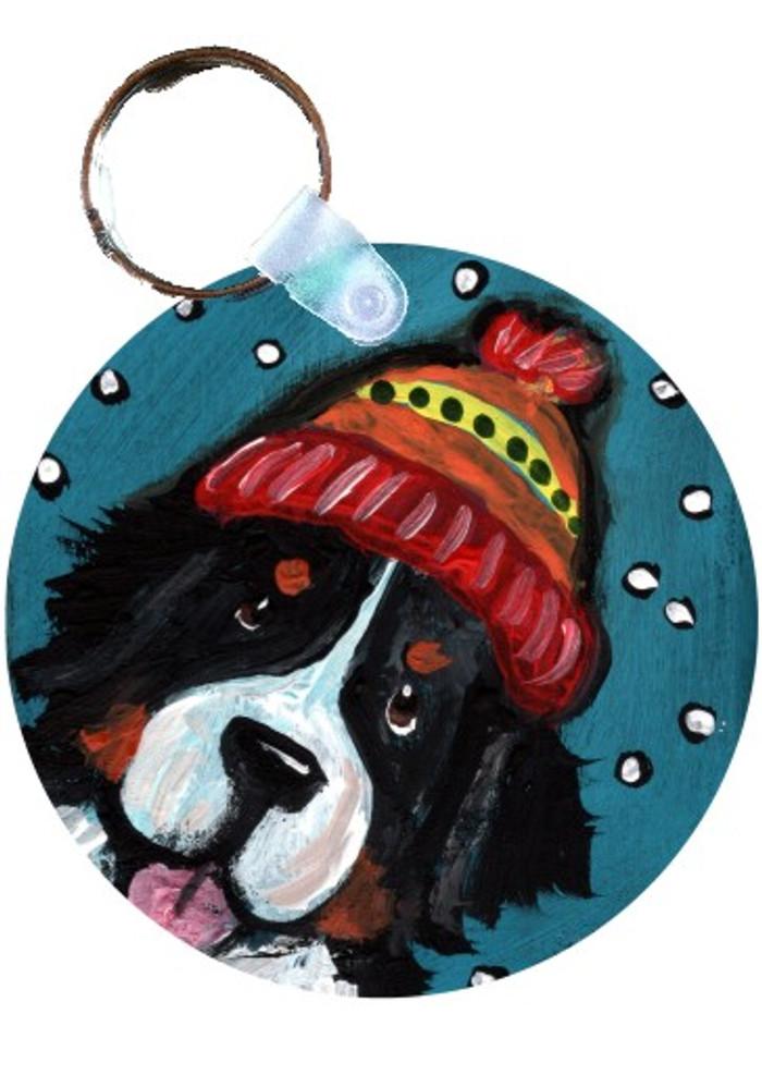 KEY CHAIN · SNOWY WEATHER · BERNESE MOUNTAIN DOG · AMY BOLIN