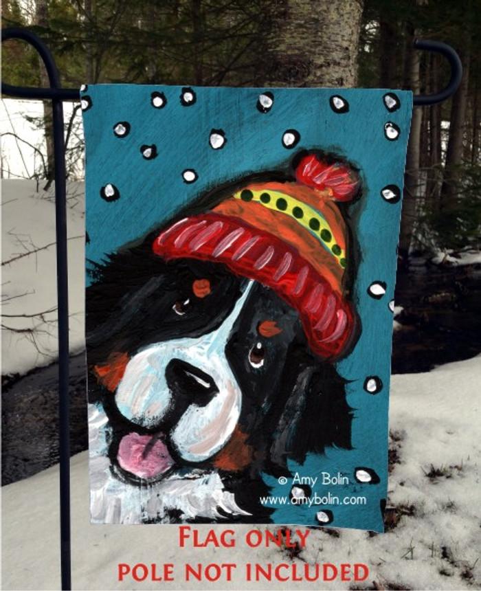 GARDEN FLAG · SNOWY WEATHER · BERNESE MOUNTAIN DOG · AMY BOLIN