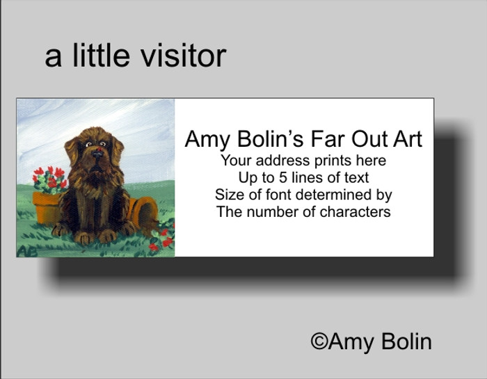 ADDRESS LABELS · A LITTLE VISITOR · BROWN NEWFOUNDLAND · AMY BOLIN