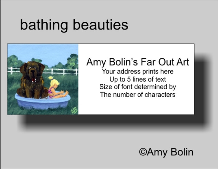 ADDRESS LABELS · BATHING BEAUTIES · BROWN NEWFOUNDLAND · AMY BOLIN