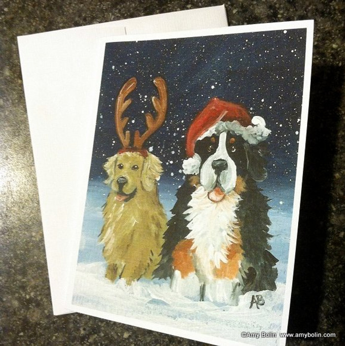 """Christmas Buddies"" Bernese Mountain Dog, Golden Retriever Note Cards"