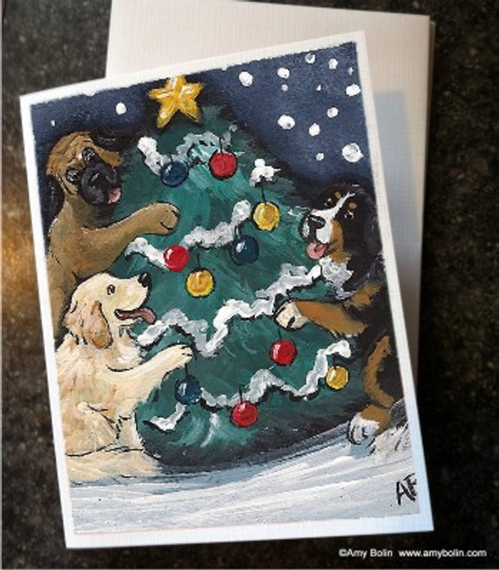 """Christmas Together"" Bernese Mountain Dog, Golden Retriever, Mastiff Note Cards"