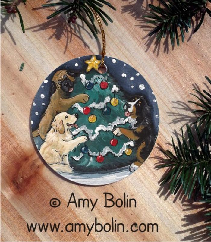 CERAMIC ORNAMENT · CHRISTMAS TOGETHER · BERNESE MOUNTAIN DOG, GOLDEN RETRIEVER, MASTIFF · AMY BOLIN