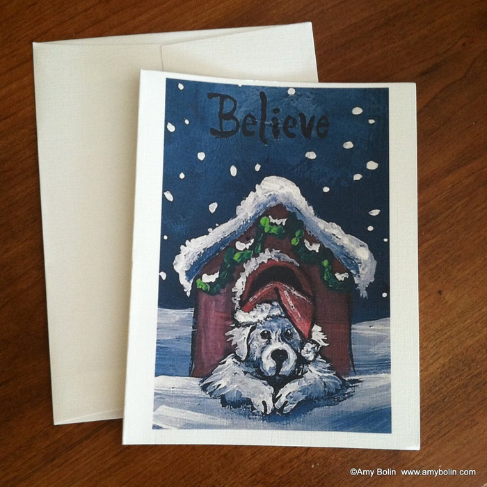 """Christmas: Believe"" Great Pyrenees Note Cards"