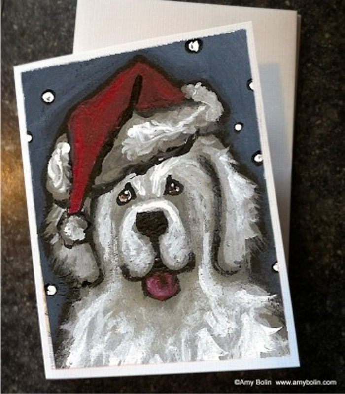 """Christmas: Shaggy Claws"" Great Pyrenees Note Cards"
