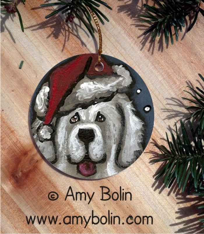 CERAMIC ORNAMENT · SHAGGY CLAWS · GREAT PYRENEES · AMY BOLIN