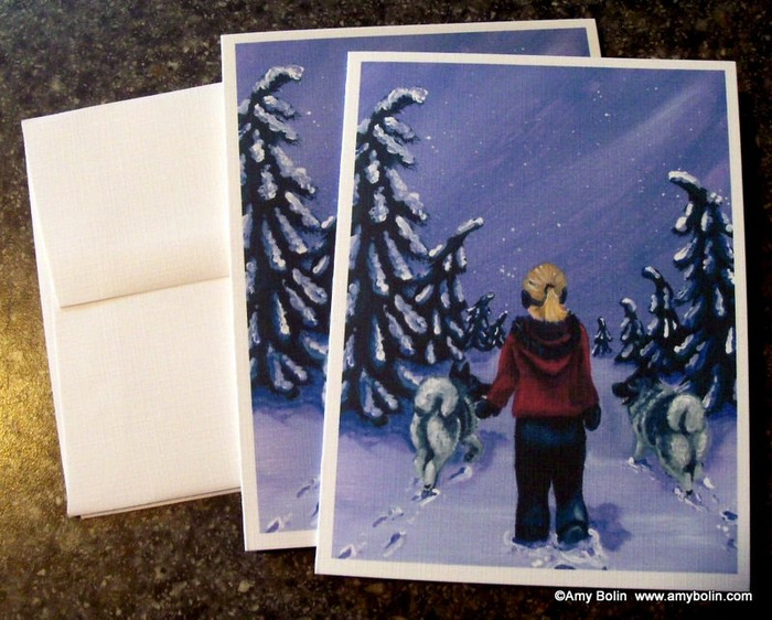 NOTE CARDS · A SNOWY WALK · NORWEGIAN ELKHOUND · AMY BOLIN