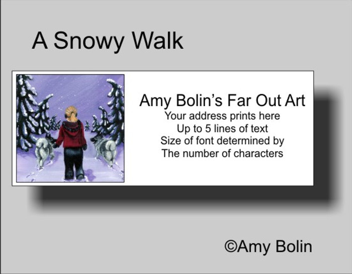 ADDRESS LABELS · A SNOWY WALK · NORWEGIAN ELKHOUND · AMY BOLIN