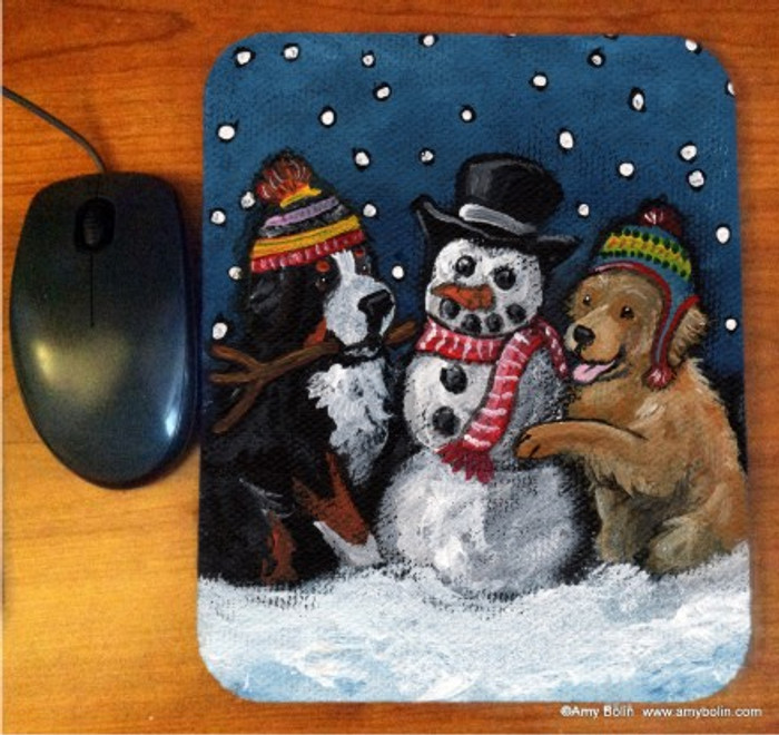 MOUSE PAD · FRIENDS OF SNOW NEED LOVE TO GROW · BERNESE MOUNTAIN DOG & GOLDEN RETRIEVER · AMY BOLIN