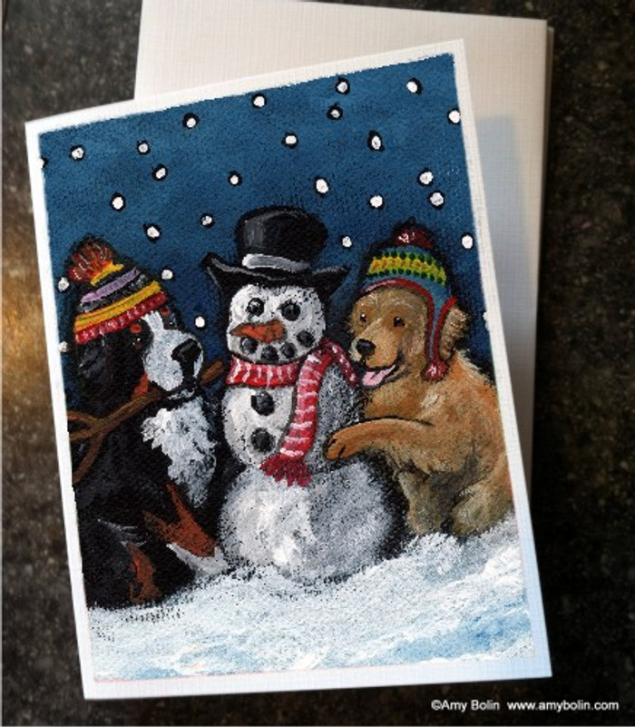 NOTE CARDS · FRIENDS OF SNOW NEED LOVE TO GROW · BERNESE MOUNTAIN DOG & GOLDEN RETRIEVER · AMY BOLIN