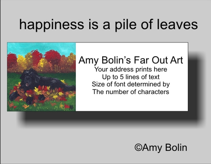 ADDRESS LABELS · HAPPINESS IS A PILE OF LEAVES · BLACK NEWFOUNDLAND · AMY BOLIN