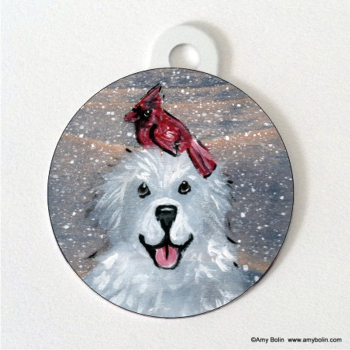 DOUBLE SIDED PET ID TAG · WINTER BUDDIES · GREAT PYRENEES & CARDINAL · AMY BOLIN