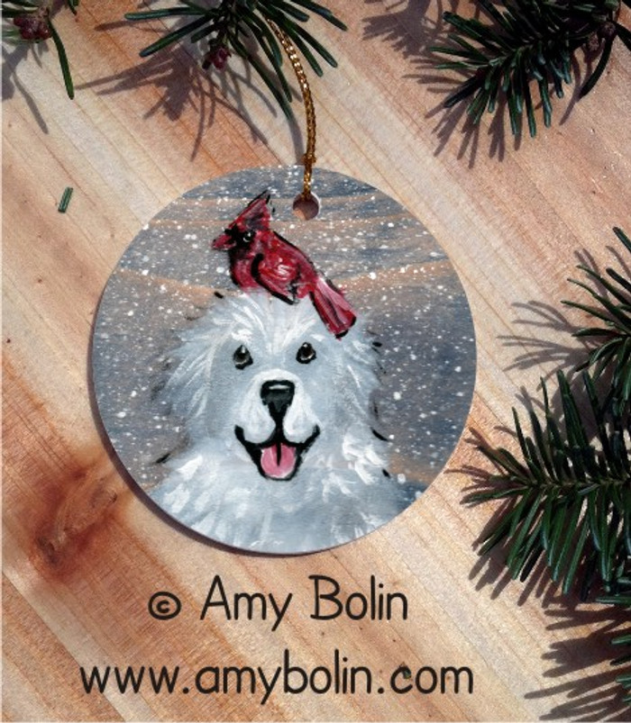 CERAMIC ORNAMENT · WINTER BUDDIES · GREAT PYRENEES & CARDINAL · AMY BOLIN