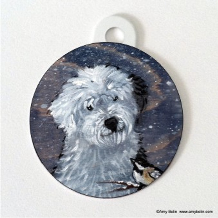 DOUBLE SIDED PET ID TAG · WINTER BUDDIES · OLD ENGLISH SHEEPDOG & CHICKADEE · AMY BOLIN