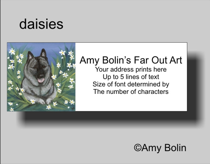 ADDRESS LABELS · DAISIES 1 · NORWEGIAN ELKHOUND · AMY BOLIN