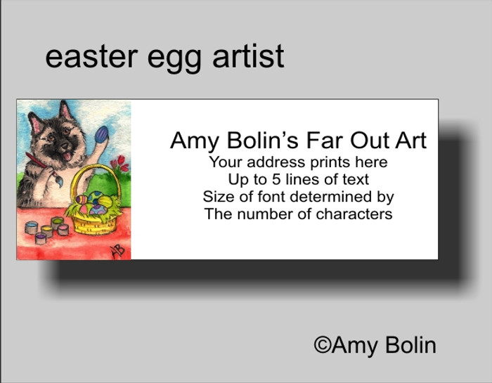 ADDRESS LABELS · EASTER EGG ARTIST · NORWEGIAN ELKHOUND · AMY BOLIN