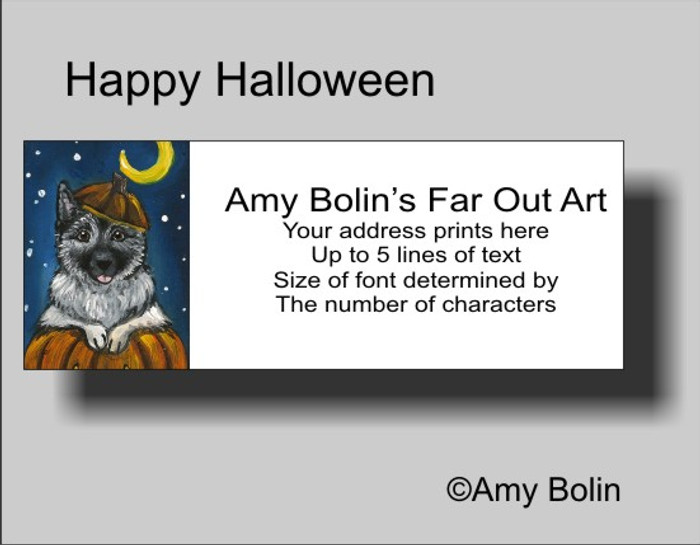 ADDRESS LABELS · HAPPY HOWLOWEEN · NORWEGIAN ELKHOUND · AMY BOLIN