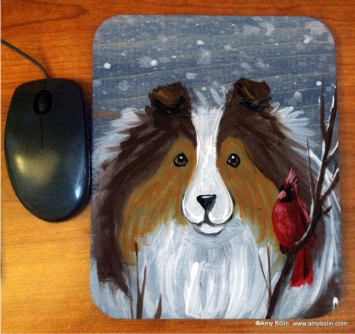 MOUSE PAD ·WINTER BUDDIES · SABLE SHELTIE & CARDINAL · AMY BOLIN