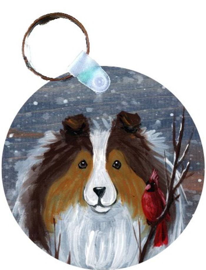 KEY CHAIN · WINTER BUDDIES · SABLE SHELTIE & CARDINAL · AMY BOLIN
