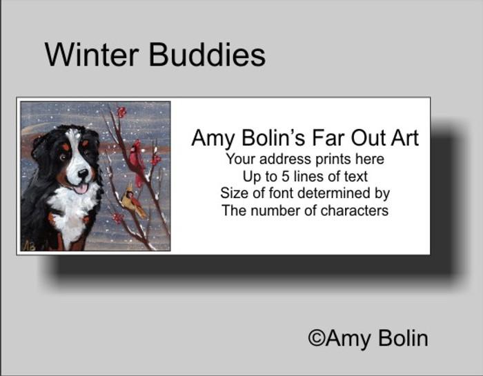"""Winter Buddies"" Bernese Mountain Dog Address Labels"