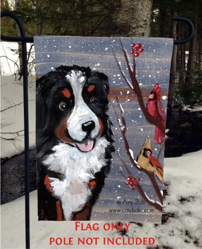 GARDEN FLAG · WINTER BUDDIES · BERNESE MOUNTAIN DOG · AMY BOLIN