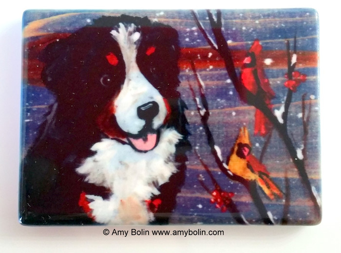 MAGNET · WINTER BUDDIES · BERNESE MOUNTAIN DOG & CARDINALS · AMY BOLIN